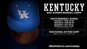 2017 ad for Kentucky's baseball camps