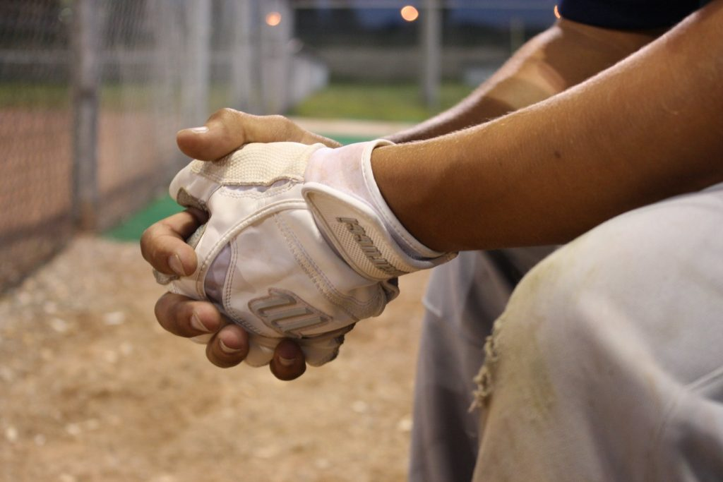 A player's clasped hands