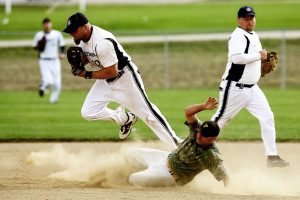 A baseball action shot