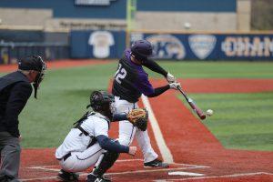 A batter takes a swing